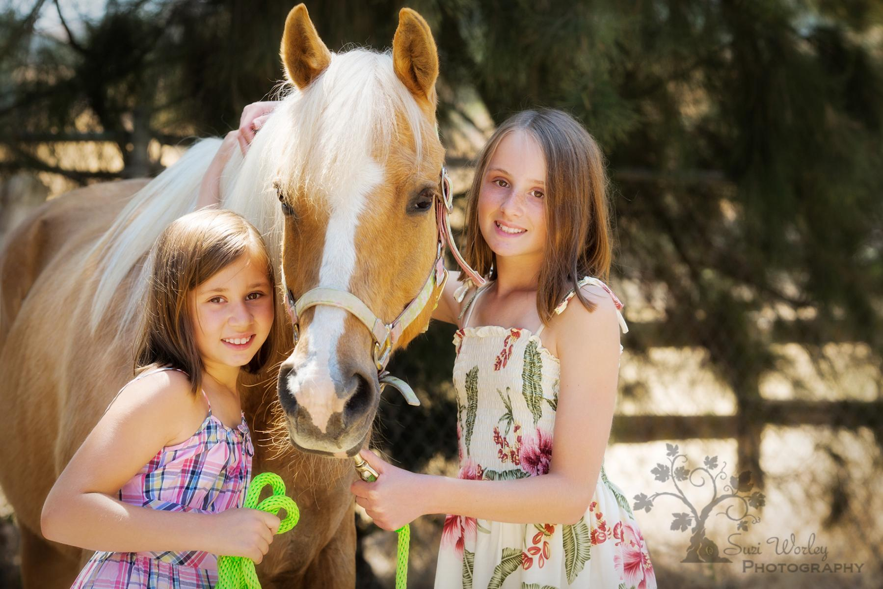 Fun Equestrian image with the girls. #girls #horses #palomino #summersession #SuziWorleyPhotography