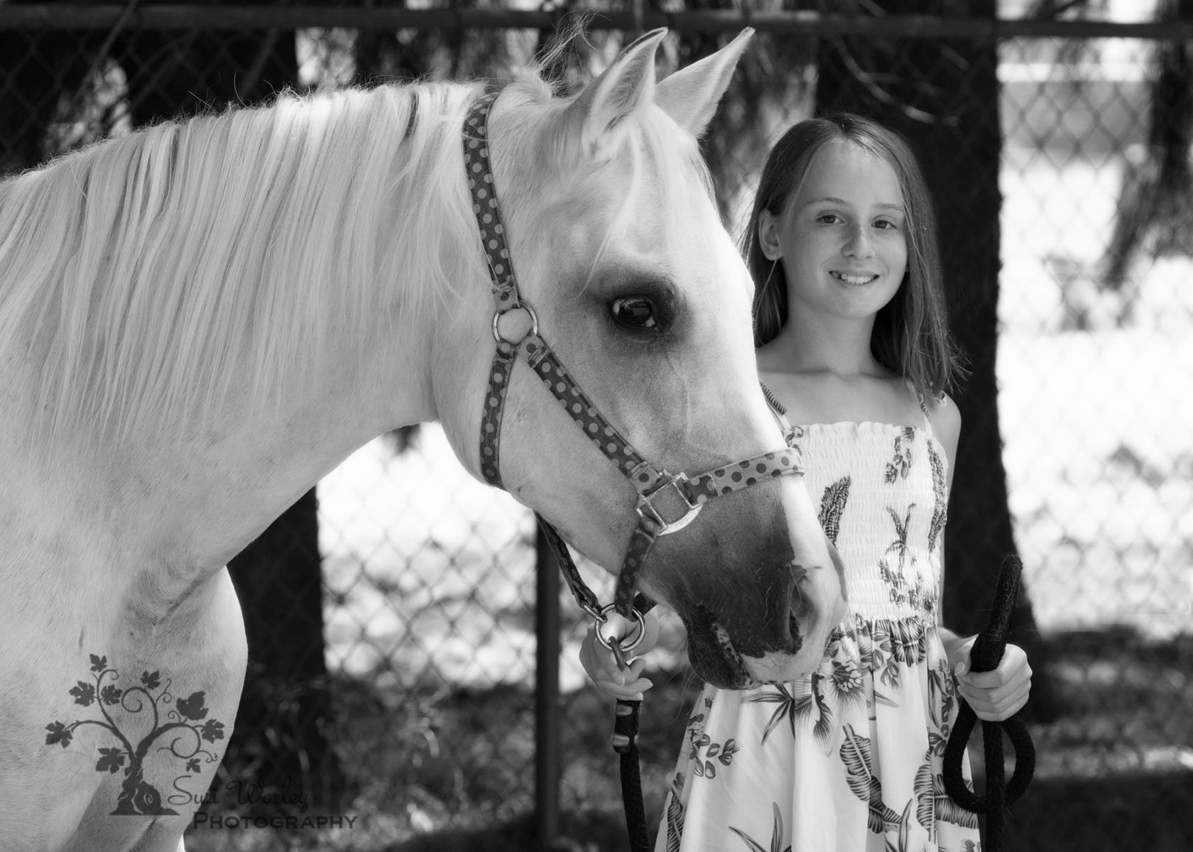 Beautiful Girls. #SuziWorleyPhotography #Portraits #Arabian #Teenager #dresses #farm #equineportraits #Black&White