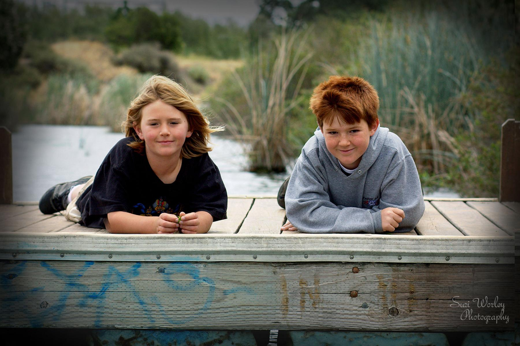 Dockside with the boys.  #coyotecreek #boys #Graffiti #summersession #SuziWorleyPhotography
